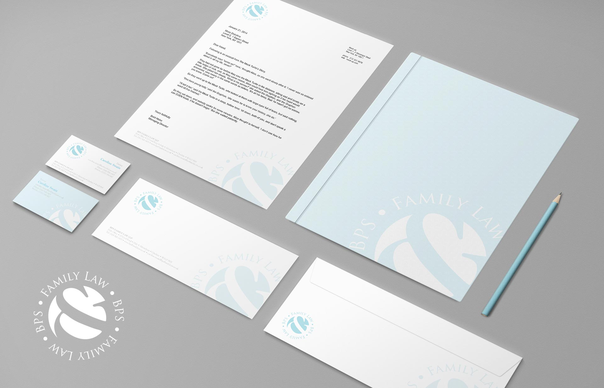 Stationary design for a family law business. Creative by Twistedgifted.
