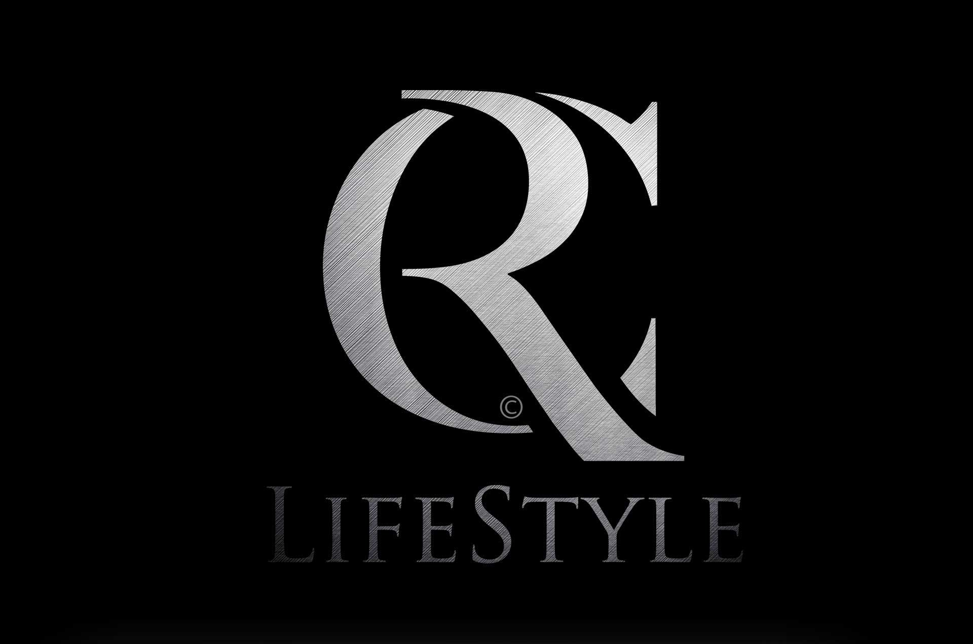 RC Lifestyle logo and brand ID. Gun metal finish on black background. Designed by Twistedgifted.