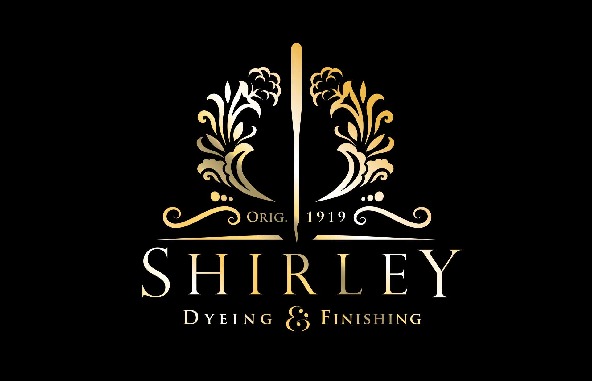 Shirley Dyeing and Finishing logo in gold on black. Designed by Twistedgifted.