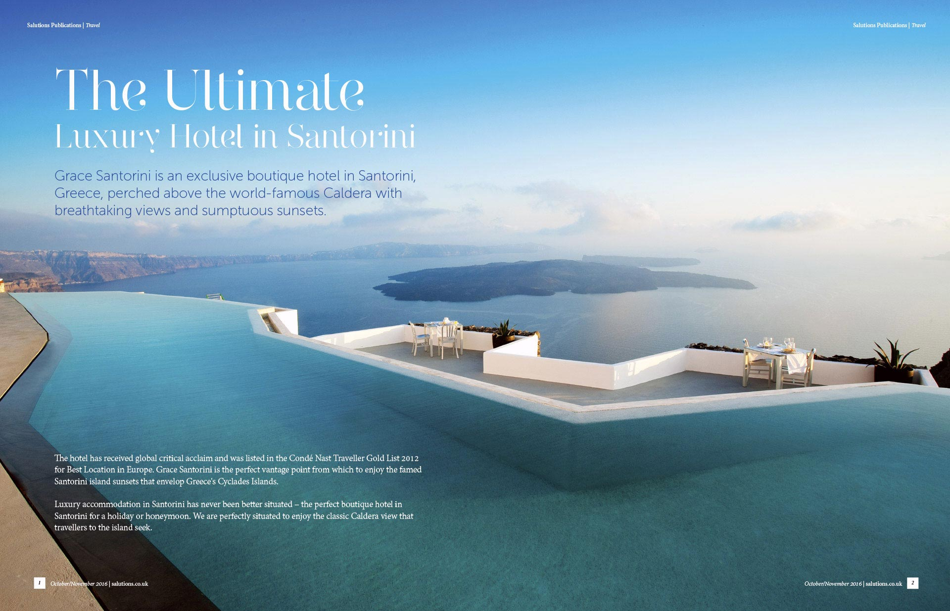 The ultimate Luxury Hotel in Santorini double page magazine spread. Layout design by Twistedgifted.